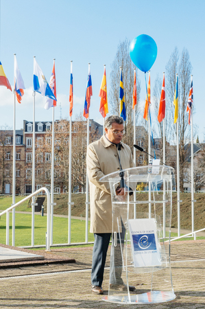 parliamentary: STRASBOURG, FRANCE - DEC 09, 2015: Mario Martins, Director General of the Secretariat of the Parliamentary Assembly speech during European Day on the Protection of Children against Sexual Exploitation and Sexual Abuse