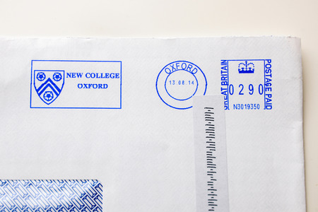 par avion: Postage envelopes elements from the New College of Oxford with the admission letter to students of school, colleges and universities by the administration department of institute when they got admission in college Editorial