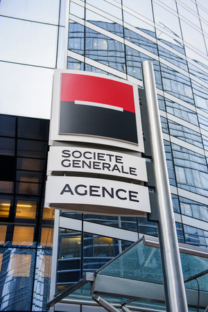la defense: PARIS, FRANCE - DEC 3, 2014: Societe Generale largest agency entrance in La Defense. The company is a universal bank and has divisions supporting French Networks, Global Transaction Banking, International Retail Banking, Financial services, Corporate and  Editorial