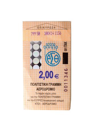 Thessalonique billet d'autobus émis par le transport public Servicess à Thessalonique isolé sur fond blanc Éditoriale