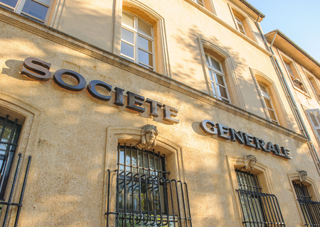 sg: AIX-EN-PROVENCE, FRANCE - JUL 17, 2014: Societe Generale Headquarter of the South branch of Societe Genrale bank headquartered in Paris on a sunny evening with beautiful warm colors of the stone walls Editorial