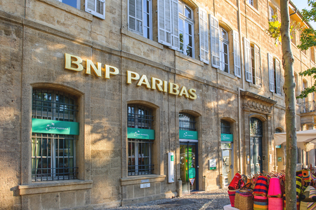 AIX-EN-PROVENCE, FRANCE - JUL 17, 2014: BNP PAribas main entrance in the Provence bank branch. BNP Paribas is a French multinational bank and financial services company with global headquarters in Paris and is one of the largest banks in the world.