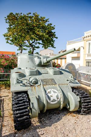 ww2: Jeanne dArc WW2 battle tank memorial on the street of Marseille, France