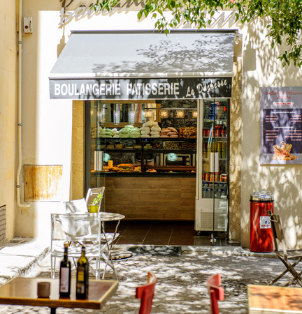 arts culture and entertainment: AIX-EN-PROVENCE, FRANCE - JUL 17, 2014: Boulangerie Patiserie La Duchesse - Typical Provence sweet pastry store in the heart of the city of Aix
