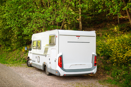 generic location: Camping van microbus parked in green forest on a warm summer day
