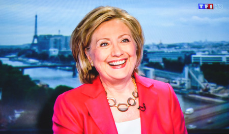 PARIS, FRANCE - JULY 07, 2014: First appearance of Hilary Clinton on national French television channel TF1 after meeting Vladimir Putin, Russian President Editorial