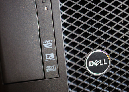 configured: LONDON, UNITED KINGDOM - JUNE 30, 2014: Dell Computers logo on a powerful workstation, as seen on june 30, 2014. Dell workstations machines come configured as tower Editorial