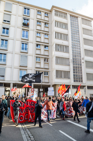 reforms: STRASBOURG, FRANCE - 9 MAR 2016: Closed residentaial area as thousands of people demonstrate as part of nationwide day of protest against proposed labor reforms by Socialist Government Editorial