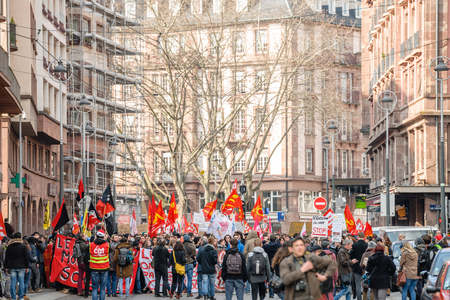reforms: STRASBOURG, FRANCE - 9 MAR 2016: People blocking street city center as part of nationwide day of protest against proposed labor reforms by Socialist Government Editorial