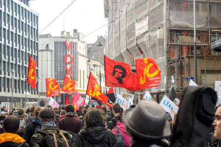 nationwide: STRASBOURG, FRANCE - 9 MAR 2016: Center of Strasbourg closed as thousands of people demonstrate as part of nationwide day of protest against proposed labor reforms by Socialist Government