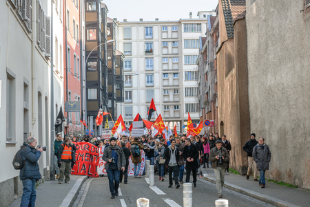 socialist: STRASBOURG, FRANCE - 9 MAR 2016: Closed residentaial area as thousands of people demonstrate as part of nationwide day of protest against proposed labor reforms by Socialist Government Editorial