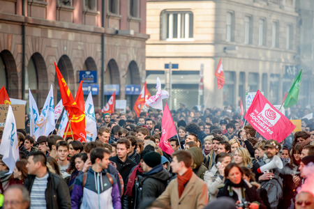 nationwide: STRASBOURG, FRANCE - 9 MAR 2016: Closed city center as thousands of people demonstrate as part of nationwide day of protest against proposed labor reforms by Socialist Government