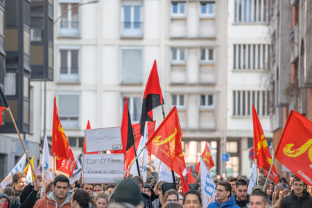 nationwide: STRASBOURG, FRANCE - 9 MAR 2016: Closed residentaial area as thousands of people demonstrate as part of nationwide day of protest against proposed labor reforms by Socialist Government Editorial