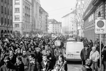 stopped: STRASBOURG, FRANCE - 9 MAR 2016:  Closed city center and stopped traffic as thousands of people demonstrate as part of nationwide day of protest against proposed labor reforms by Socialist Government Editorial