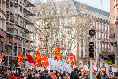 proposed: STRASBOURG, FRANCE - 9 MAR 2016: Crowd blocking city center as part of nationwide day of protest against proposed labor reforms by Socialist Government Editorial