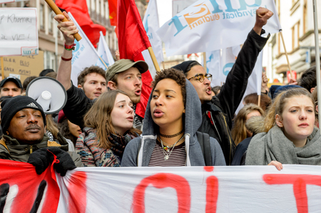 reforms: STRASBOURG, FRANCE - 9 MAR 2016: Crowd yelling as part of nationwide day of protest against proposed labor reforms by Socialist Government