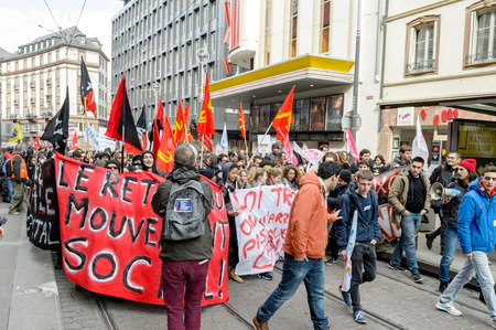 proposed: STRASBOURG, FRANCE - 9 MAR 2016: Closed city center as thousands of people demonstrate as part of nationwide day of protest against proposed labor reforms by Socialist Government