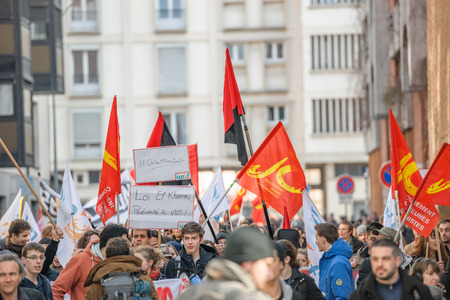 closed community: STRASBOURG, FRANCE - 9 MAR 2016: Closed residentaial area as thousands of people demonstrate as part of nationwide day of protest against proposed labor reforms by Socialist Government Editorial