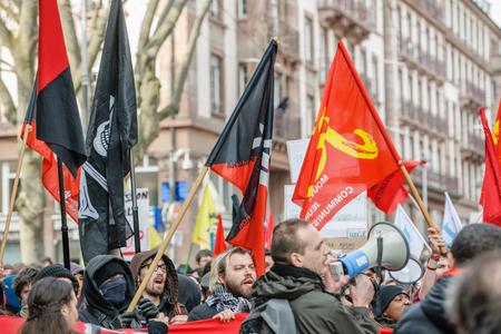 nationwide: STRASBOURG, FRANCE - 9 MAR 2016: Closed citycenter as thousands of people demonstrate as part of nationwide day of protest against proposed labor reforms by Socialist Government Editorial