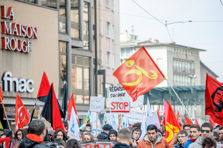nationwide: STRASBOURG, FRANCE - 9 MAR 2016: Closed center street as thousands of people demonstrate as part of nationwide day of protest against proposed labor reforms by Socialist Government Editorial