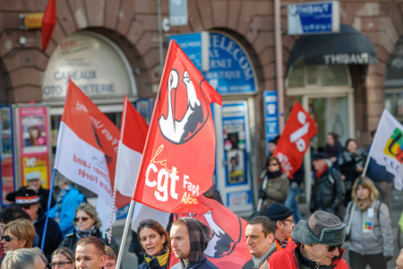 proposed: STRASBOURG, FRANCE - 9 MAR 2016:  as thousands of people demonstrate as part of nationwide day of protest against proposed labor reforms by Socialist Government
