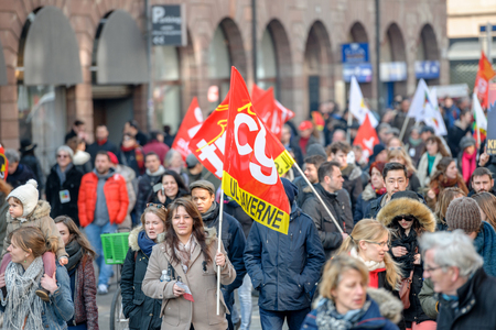 nationwide: STRASBOURG, FRANCE - 9 MAR 2016:  as thousands of people demonstrate as part of nationwide day of protest against proposed labor reforms by Socialist Government