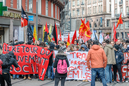 nationwide: STRASBOURG, FRANCE - 9 MAR 2016: Closed tramway lines as thousands of people demonstrate as part of nationwide day of protest against proposed labor reforms by Socialist Government Editorial