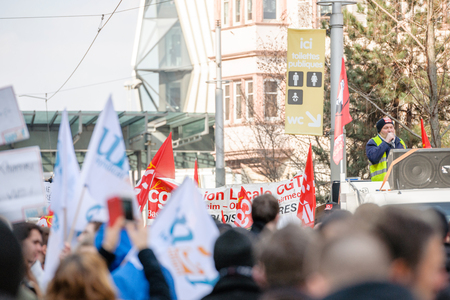 socialist: STRASBOURG, FRANCE - 9 MAR 2016: Closed city center  as thousands of people demonstrate as part of nationwide day of protest against proposed labor reforms by Socialist Government