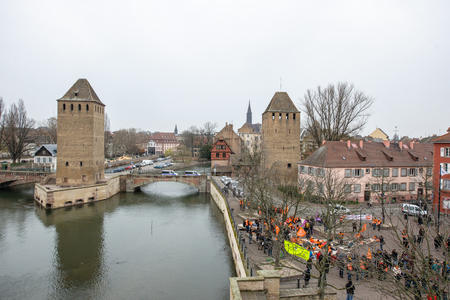 syndicate: STRASBOURG, FRANCE - MAR 15, 2016:  as hundreds protests against Bas-Rhing Alsace departmental budget cuts for 2016, requesting no cuts and wage increase