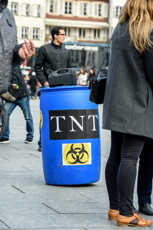 STRASBOURG, FRANCE - MAR 19, 2016: Symbolic TNT russian weapon as Syrian diaspora protests in center of Strasbourg to denouncing the Syrian attacks and show solidarity with the Syrian people