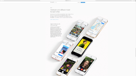keynote: PARIS, FRANCE - MAR 23, 2016: Results of the latest Apple keynote with the Apple.com website presenting the all colors of iPhone SE and the new iOS 9.3 advantages