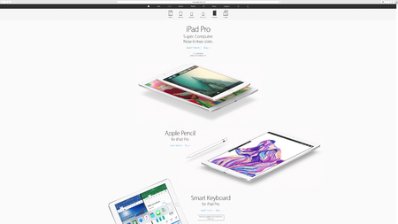 keynote: PARIS, FRANCE - MAR 23, 2016: Results of the latest Apple keynote with the Apple.com website presenting the new iPad pro - super computer in two size