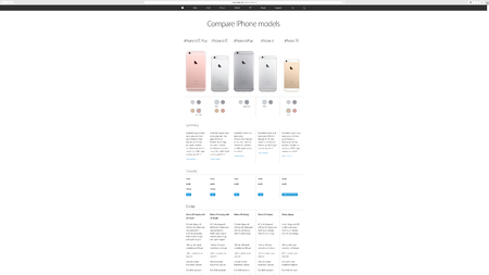 keynote: PARIS, FRANCE - MAR 23, 2016: Results of the latest Apple keynote with the Apple.com website presenting the range of all iPhone smartphone, from Apple SE to Apple 6S Plus