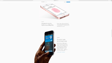 keynote: PARIS, FRANCE - MAR 23, 2016: Results of the latest Apple keynote with the Apple.com website presenting Advanced Security fingertip with Touch ID Editorial