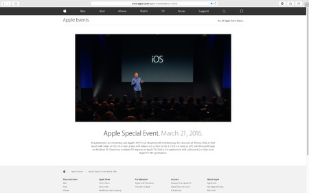 keynote: PARIS, FRANCE - MAR 23, 2016: Results of the latest Apple keynote with the Apple.com website presenting the reply of the Leynote with introduction about iOS Editorial