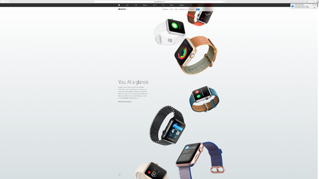 keynote: PARIS, FRANCE - MAR 23, 2016: Results of the latest Apple keynote with the Apple.com website presenting the new straps for Apple Watch - You at a glance