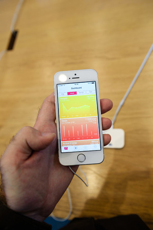 night shift: PARIS, FRANCE - APR 4, 2016: Health app dashboard on the new Apple iPhone SE during the sales launch of the latest Apple Inc. smartphone and iPad Pro at the Apple store in Paris, France