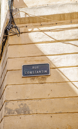 rue: Rue Constantion or Constantin street sign seen in Aix-en-Provence France Stock Photo