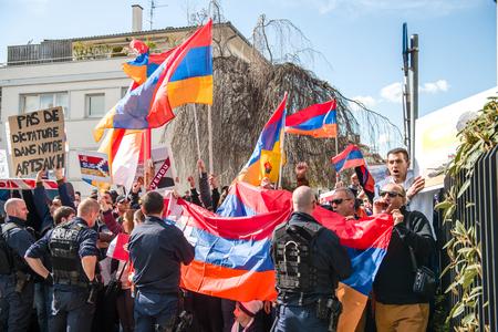 diaspora: STRASBOURG, FRANCE - APR 8, 2016: Armenian diaspora protest outside Azerbaijan Embassy against the 2016 clashes in Nagorny-Karabakh, the region disputed by Armenia and Azerbaijan