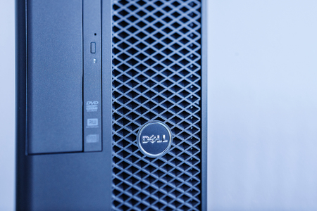 configured: LONDON, UNITED KINGDOM - JUNE 30, 2014: Dell Precision Computers powerful workstation, as seen on Jun 30, 2014. Dell workstations machines come configured as tower, rack-mounted or notebooks for diverse industries ranging from audio and video production t