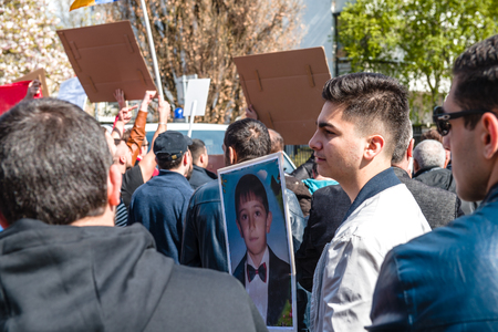 diaspora: Armenian diaspora protest outside Azerbaijan Embassy against the 2016 clashes in Nagorny-Karabakh, the region disputed by Armenia and Azerbaijan. Editorial