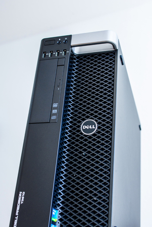 configured: LONDON, UNITED KINGDOM - JUNE 30, 2014: Dell Computers powerful workstation, as seen on june 30, 2014 against white background. Dell workstations machines come configured as tower, rack-mounted or notebooks for diverse industries ranging from audio and vi