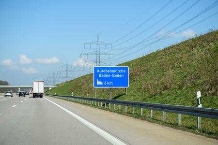 autobahn: Autobahnkirche Baden-Baden or highway Church sign seen on the German Autobahn near the city of Baden in Germany