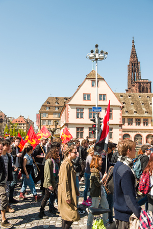 nationwide: STRASBOURG, FRANCE - APR 20, 2016: People protesting in center of Strasbourg as part of nationwide day of protest against proposed labor reforms by Socialist Government