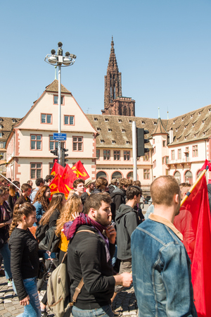 socialist: STRASBOURG, FRANCE - APR 20, 2016: People protesting in center of Strasbourg as part of nationwide day of protest against proposed labor reforms by Socialist Government