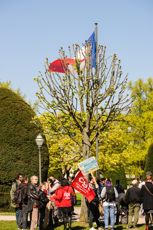 reforms: STRASBOURG, FRANCE - APR 20, 2016: People gathering in Place de la Republique to demonstrate as part of nationwide day of protest against proposed labor reforms by Socialist Government