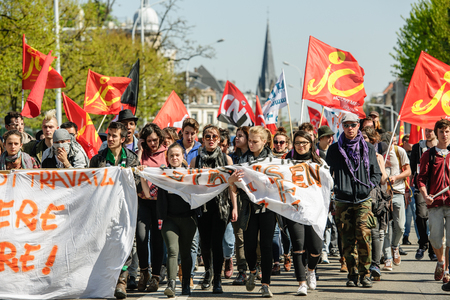 reforms: STRASBOURG, FRANCE - APR 20, 2016: Closed Avenue des Vosges as hundreds of people demonstrate as part of nationwide day of protest against proposed labor reforms by Socialist Government
