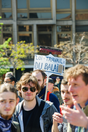 nationwide: STRASBOURG, FRANCE - APR 20, 2016: Placard saying Labor Law is a Mop as hundreds of people demonstrate as part of nationwide day of protest against proposed labor reforms by Socialist Government Editorial