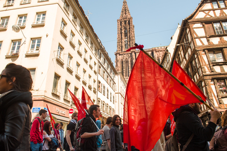 reforms: STRASBOURG, FRANCE - APR 20, 2016:  as hundreds of people demonstrate as part of nationwide day of protest against proposed labor reforms by Socialist Government