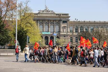 proposed: STRASBOURG, FRANCE - APR 20, 2016: Hundreds of students demonstrate in front of University of Strasbourg as part of nationwide day of protest against proposed labor reforms by Socialist Government